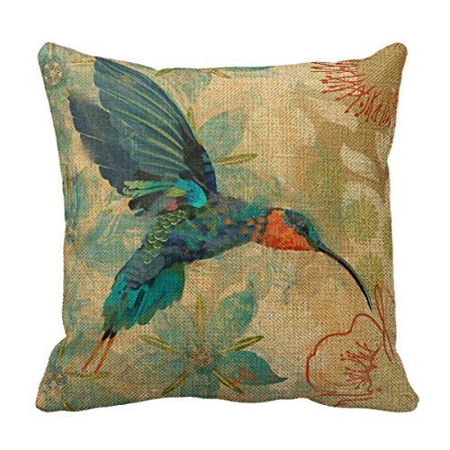 SIXSTARS Cotton Linen Square Fashion Blue Orange Hummingbird Bird Teal Aqua Red Flowers Pillowcases (Teal And Red)