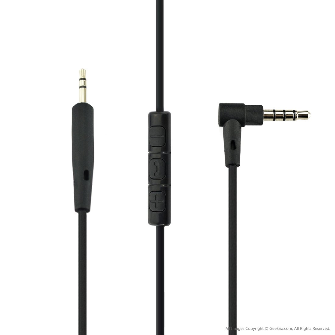 Geekria Replacement Cable for Bose QuietComfort QC25 Headphone/ Audio Cord With Inline Mic and Volume Control, Works With Apple, Android, Windows Phone (Black)