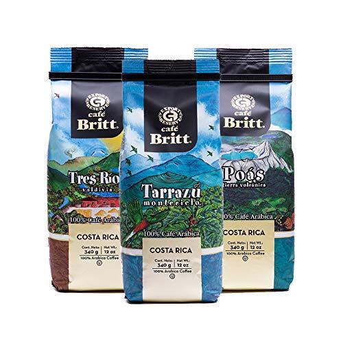 Café Britt® – Costa Rican Origins Coffee Bundle (12 oz.) (3-Pack) (Coffee From: Tarrazú, Tres Ríos & Poás) – Ground…