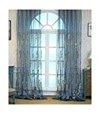 ASide BSide Home Treatment Voile Panels Victorian Style Floral Embroidered Sheer Curtains Rod Pockets For Kitchen Houseroom and Children Room (1 Panel, W 52 x L 84 inch, Blue)