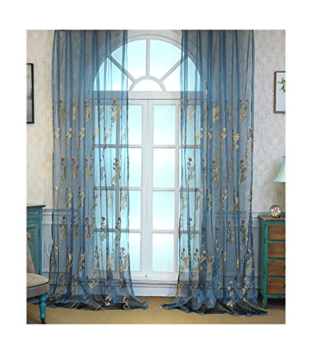 ASide BSide Home Treatment Voile Panels Victorian Style Floral Embroidered Sheer Curtains Rod Pockets For Kitchen Houseroom and Children Room (1 Panel, W 52 x L 84 inch, Blue) by ASide BSide