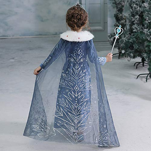 Evursua Princess Elsa Costume for Girls Winter Dress up Snow Queen Theme Party Dress,with Sparkle Crown Wand (130cm/5-6Y)