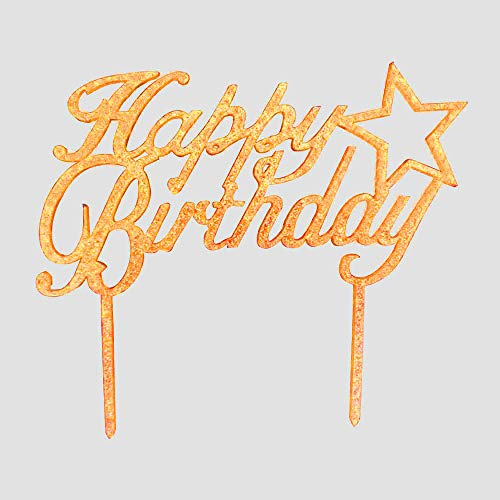 Happy Birthday Cake Topper - Gold Glitter Acrylic Star Cake Toppers - Birthday Party Event Decorations