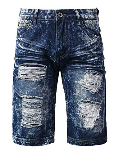 URBANCREWS Mens Hipster Hip Hop Double Layer Ripped Denim Shorts LtBlue, 34 by URBANCREWS