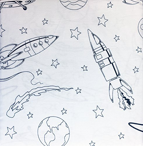 Star Rocket Twin Bed - Boy Zone 3 Piece Sheet Set Twin Single Bed UFOs Rockets Stars Planets Space Black on White