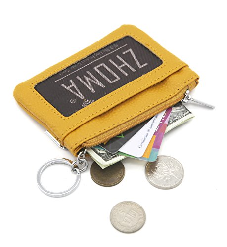 Leather Zip Key Holder (Zhoma Womens Genuine Leather Zipper Change Purse Coin key Wallet Card Holder with ID Window - Yellow)