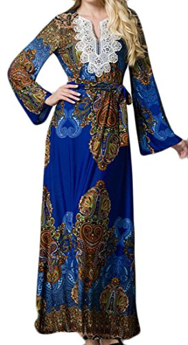 Bohemia Women's Beach Domple Lace Dress Muslim Islamic Blue Party Floral Belted Print 54wd6w