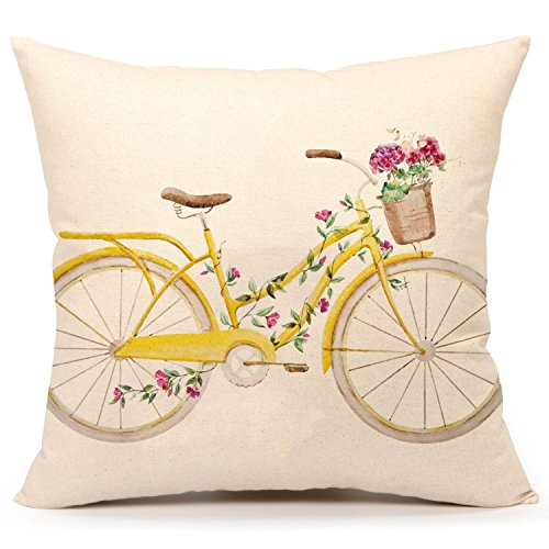 4TH Emotion Yellow Bicycle Throw Pillow Cover Vintage Spring Home Decorative Cushion Case 18 x 18 Inch Cotton Linen for Sofa (Flower)