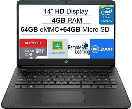 2021 Newest HP Stream 14-inch HD Laptop, Black, Intel N4020 as much as 2.8 G, 4G RAM, 128G Space(64G eMMC+64G Micro SD), WiFi, Webcam, Bluetooth, Windows 10 S, Office 365 Personal for 1 Year, Allyflex MP