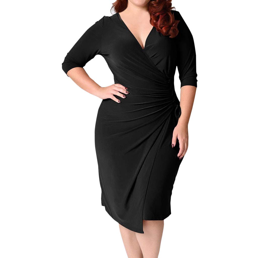 Sexy Dress for Womens Long Sleeve Plus Size Deep V-Neck Straps Waist Pocket Hip Dresses L-5XL (Black, XXL)