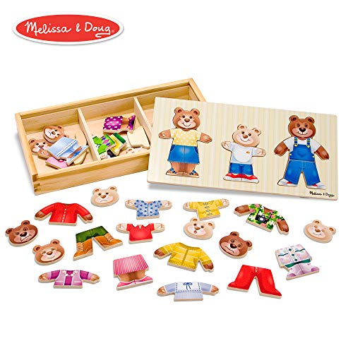 Melissa & Doug Bear Family Dress-Up Puzzle (Preschool, Mix-and-Match Outfits, Durable Wooden Construction, Sturdy Storage Box, 45 Pieces, 12.5