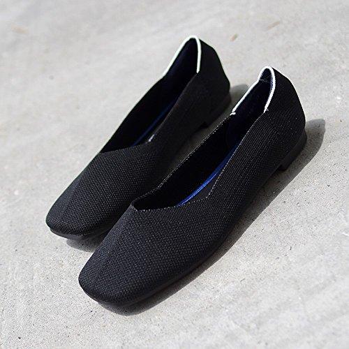 Carrée Tête Chaussures Shallow Paresseux Stretch Fond Noir 35 Doux Tissu DIDIDD Mode Bouche Respirante qE1nwBtP