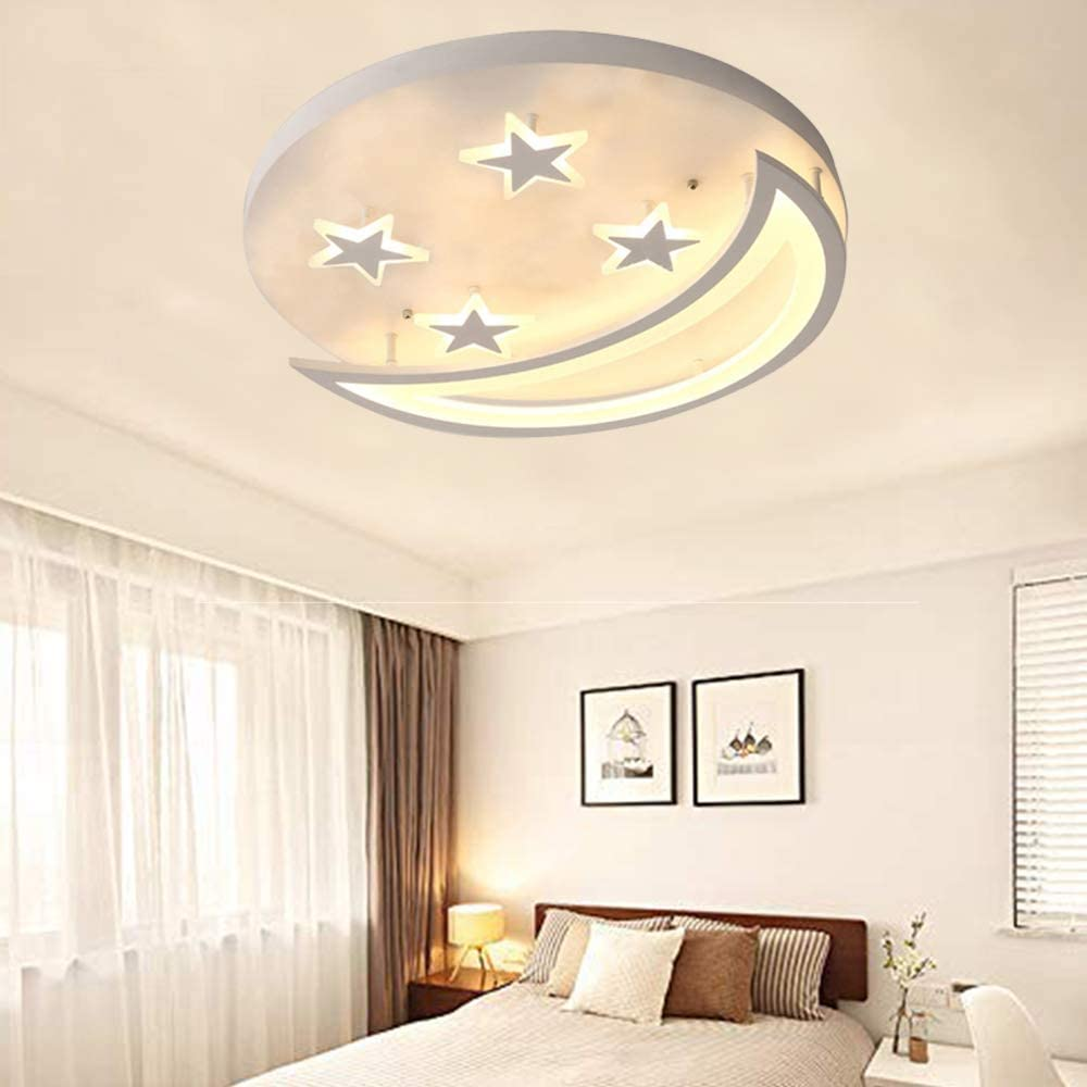 Creative LED Flush Mount Ceiling Light, CraftThink Acrylic Chandeliers Moon  Star Shape Lighting for Living Room Bedroom Kids Room (Color: Warm light,