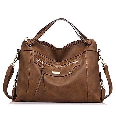 Realer Large Capacity PU Leather Handbag for Women Office Shoulder Bag