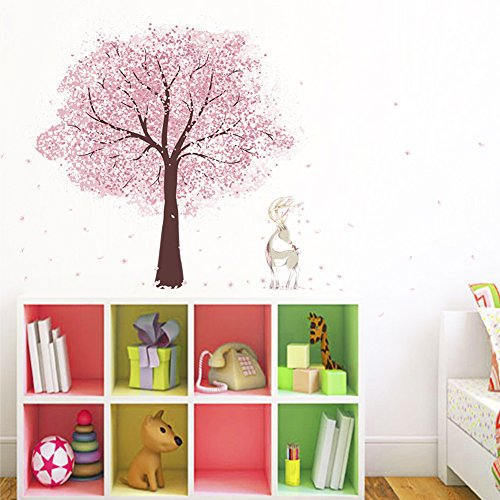 Wallpark Romantic Pink Cherry Blossom Tree Flower Petals Deer Removable Wall Sticker Decal, Children Kids Baby Home Room Nursery DIY Decorative Adhesive Art Wall Mural