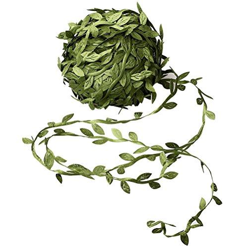 WODE Shop 21.8 Yards Olive Green Leaves, Green Leaf Trim Ribbon for DIY Craft Party Wedding Home Decoration