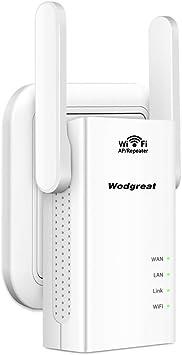 Wodgreat Repetidor WiFi Amplificador Señal WiFi Extensor de WiFi 300Mbps 2.4 GHz WiFi Amplificadores Booster Extender (2 x Antena Externa, 2 Puertos ...