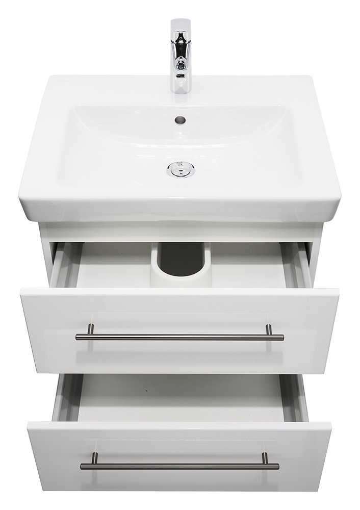 Badmöbel mit Villeroy & & & Boch Subway 2.0 Waschbecken 60 cm Weißs hochglanz 00480d