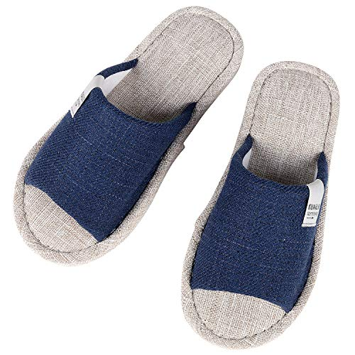 (shevalues Women's Indoor House Slippers Summer Linen Home Shoes Open Toe Slip on Cotton House Slippers NY-L Navy)