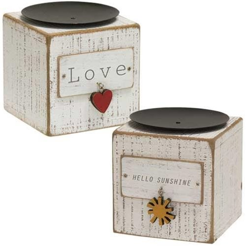 Hearthside Collection Country Wooden Candle Holder With Heart and Sunshine Charm, Country Decor Pillar Candle Blocks Set Of Two