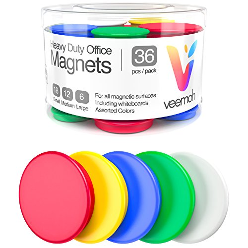 36-piece Veemoh Heavy duty Office magnets pack - Office, Kitchen, Refrigerator, Whiteboard magnet set