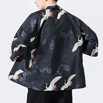 WINJUD Mens Loose Cardigan National Print Jacket Long Sleeve Yukata Coat Summer Tops at  Men's Clothing store