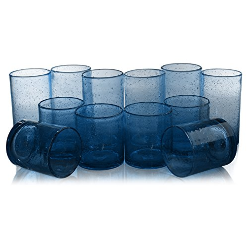Clear Bubble Glass (Artland Iris Slate Blue Seeded 12 Piece Double Old Fashioned Glass and Highball Tumbler Set)