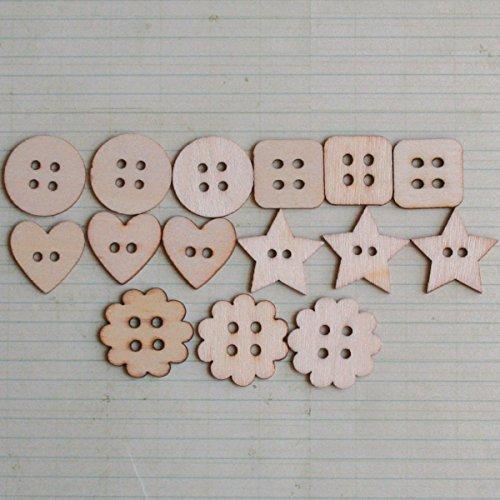(Maya Road Shaped Wood Buttons Embellishments 15/Pkg-.5
