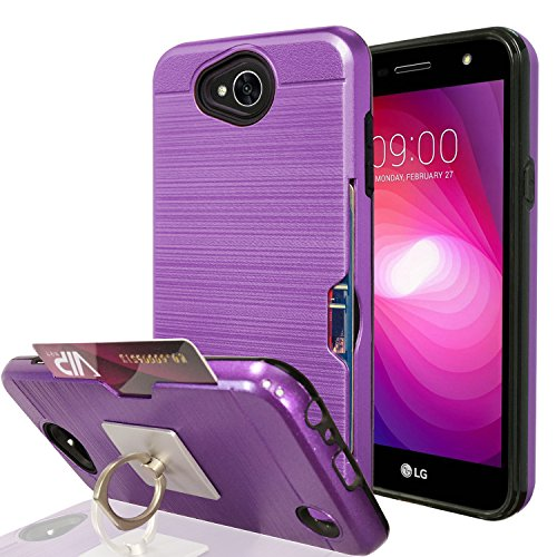 Rubberized Purple Rhinestones (LG X Power 2 / X Charge / K10 Power / Fiesta 2 LTE Case With Phone Stand,Ymhxcy [Credit Card Slots Holder][Metal Brushed Texture] Hybrid Dual Layer Protective Cover Shell For LG LV7-LCK Purple)