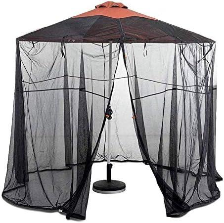 蚊帳、9-11フィートパティオ傘バグ画面、ジッパードア付きパティオ傘蚊帳、ポリエステル網-11フィートの傘とパティオテーブルに適合、335 cm 220 cmブラック