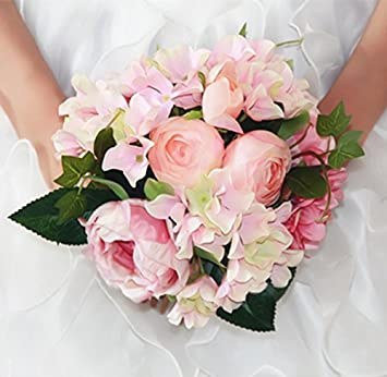 Bouquet Sposa Rose E Peonie.Amazon Com Usix Handmade Natural Looking Peony And Hydrangea