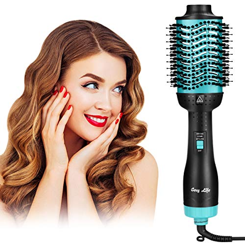 Hair Dryer Brush,Hot Air Brush,Cosy Life Upgraded 5 in 1 One-Step Hair Dryer& Volumizer,Salon Negative Ion Ceramic Blow Comb for All Styler (Tiffany Blue)