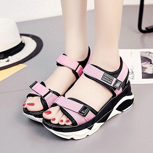RUGAI-UE Sandalias de suela gruesa mujer calzado casual Zapatos de verano en la playa Pink