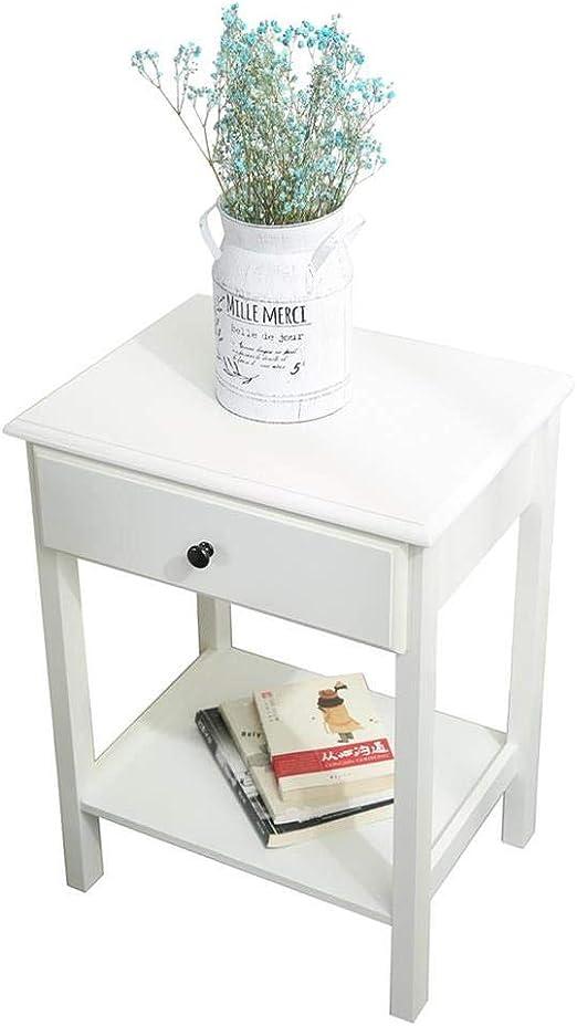 Etnicart – Mesita de noche de madera MDF blanco y mesa para sofá y ...