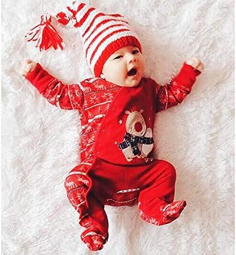 FANCYINN Baby M/ädchen Weihnachtskost/üm Outfits Kleinkind M/ädchen Weihnachtsmann Langarm Tops Bedruckte Lange Hosen Stirnband 3PCS 1-6T