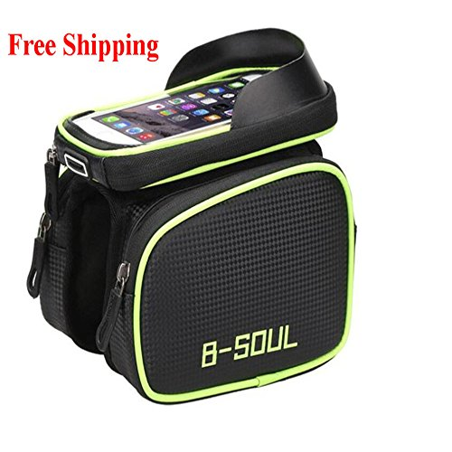 UnitPackPower B-Soul Cycling Bike Front Frame Bag Tube Pannier Double Pouch for 6.2Inch Cellphone Bicycle Accessories Riding Bag 2018 New (Green)