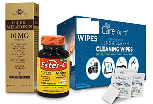 Wellness Package – 10 Individually Packed Cleaning Wipes – Liquid Melatonin 10 mg with Natural Black Cherry Flavor (59 mL) – Ester-C Vitamin C 500 mg Vegan All-Natural 60 Capsules