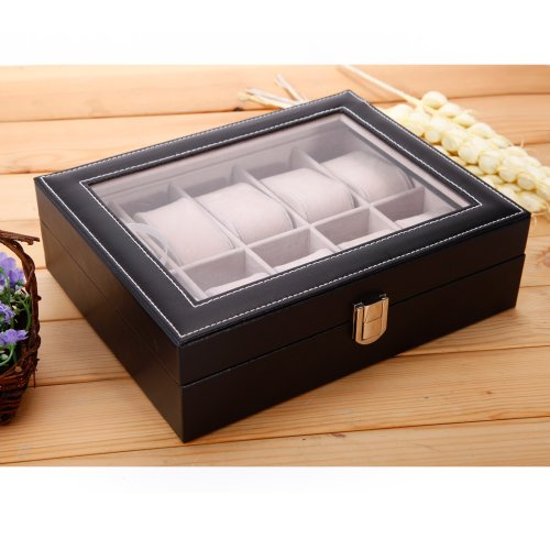 versand aus deutschland uhrenbox uhrenkoffer f r 10 uhren uhrenkasten uhrenschatulle. Black Bedroom Furniture Sets. Home Design Ideas