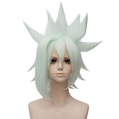 Falamka - Peluca corta para cosplay, color verde menta para fiestas, resistente al calor