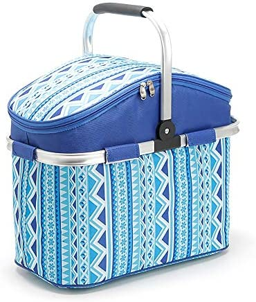 No brand Borse Picnic Outdoor Folding Picnic Basket 26L Portable Isolamento Carrello Multifunzionale del Panno di Oxford Picnic Bag Folding Picnic Basket Pranzo Borse