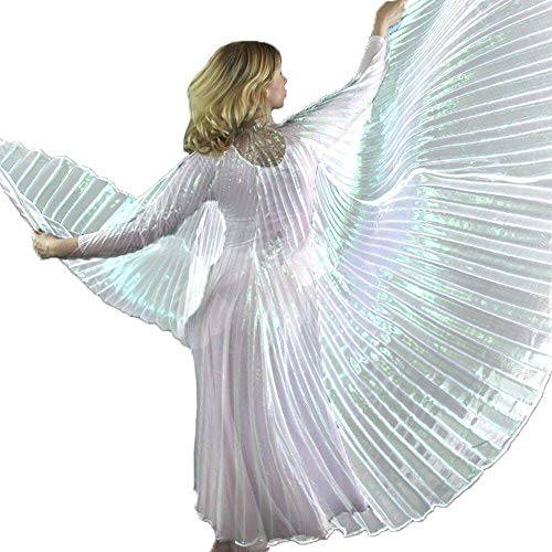 Danzcue 360 Degree Worship Isis Wings, Iridescent White, M-L-Adult ()