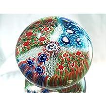Murano Design Mouth Blown Rainbow Millefiori Art Glass Paperweight PW-1121