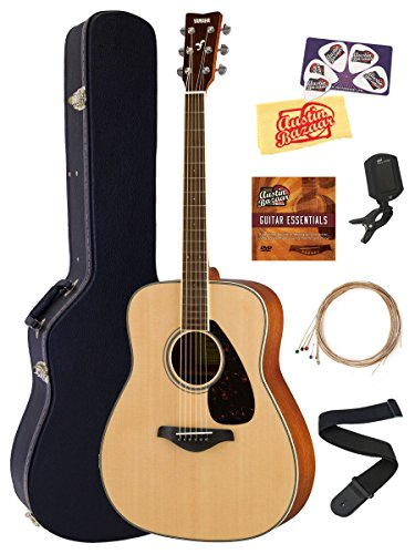 Yamaha FG820 Solid Top Folk Acoustic Guitar – Natural Bundle with Hard Case, Tuner, Strings, Strap, Picks, Austin Bazaar Instructional DVD, and Polishing Cloth