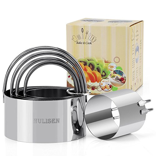5 Pieces/Set), HULISEN Round Cookies Cutter with Handle, Professional Baking Dough Tools (Round) ()