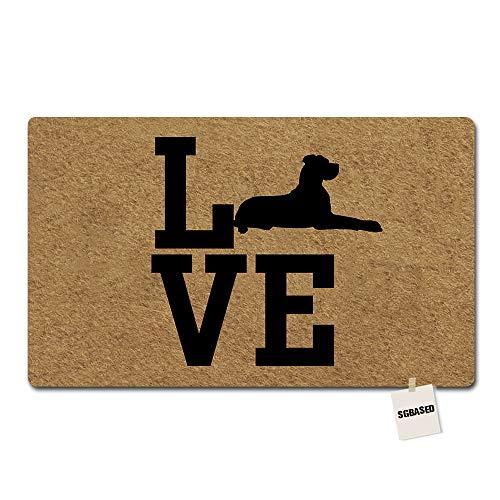 SGBASED Door Mat Home Doormat Love Great Dane Mat Washable Floor Entrance Outdoor & Indoor Rug Doormat Non-Woven Fabric (23.6 X 15.7 inches) (Great Dane Doormat)