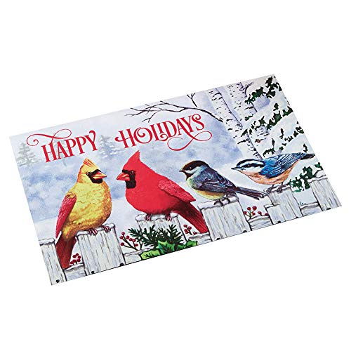 (Collections Etc Happy Holidays Winter Birds Welcome Door Mat - Cardinals and Blue Jays on Snow Covered Fence)