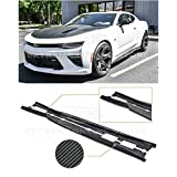 Replacement for 2016-2018 Chevrolet Camaro | EOS T6 Style Add-On Bottom Line Side Skirts Rocker Panel Extension Pair (Carbon Fiber)