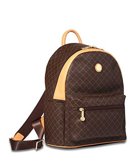 Rioni Round Dome Zaino Travel Daypack Backpack Unisex - Signature Brown by Rioni
