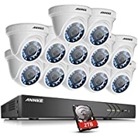 ANNKE 16-Channel 4K Surveillance DVR and (12) 1920TVL 2.0MP Outdoor Security Cameras, 100ft Night Vision, 2TB DVR Storage, Convenient Email Alert with Images, DVR supports the maximum 3MP video