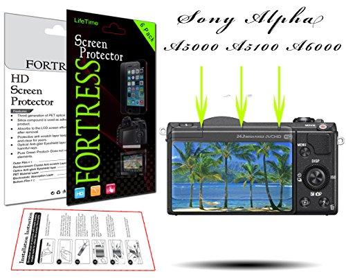 (6 Pack) Sony Alpha A5000 A5100 A6000 NEX-7 NEX-6 Digital Camera HD High Definition Crystal Clear LCD Screen Protector Kit Exact Fit, No Cutting Needed. LifeTime Replacement Warranty (Fortress Brand) (Screen Protector For Sony A6000)